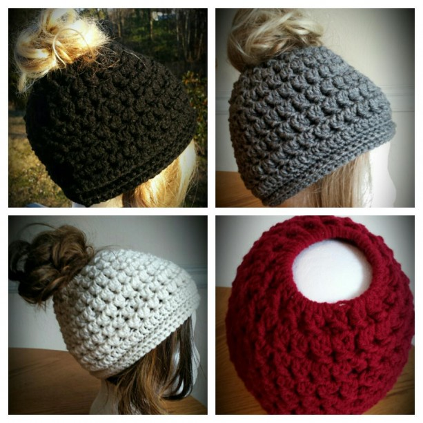 Messy bun crochet handmade hat - ponytail - choice colors