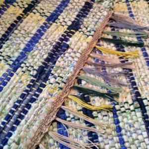 Rag rug-Blue Rag Rug-handmade rug-rag rug-kitchen rug-floor covering-area rug-woven rug-Recycled-Handwoven, kitchen-bathroom rug.