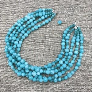 Chunky Blue Jade Statement Necklace, Chunky Necklace, Blue Jade Chunky Necklace, Blue Beaded Necklace, Multi Strand Blue Jade Necklace