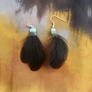 Black Feather Earrings with Green Accent Stone Earrings