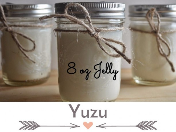 Yuzu 8 ounce Scented Handcrafted Soy Candle Jelly Jar