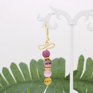 Gold Swirls, Pink Round Glass Bead Earrings,  Purple Faceted Glass Bead, Red Raspberry