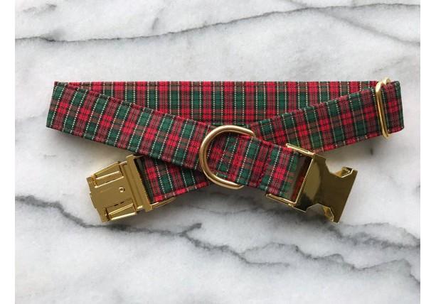 Plaid Christmas/Evergreen Dog Collar with Gold Metal Buckle