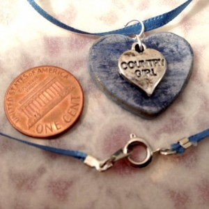 For the Love of the Craft Mixed Media Blue Country Girl Heart Charm Pendant