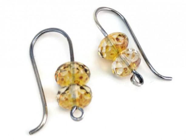 Sterling Silver-filled champagne Czech Glass earrings