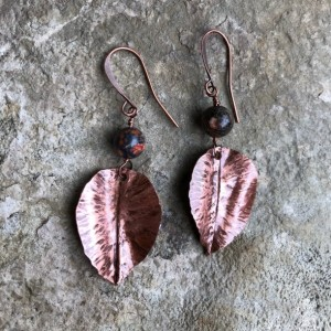 Copper and leopard jasper leaf earrings