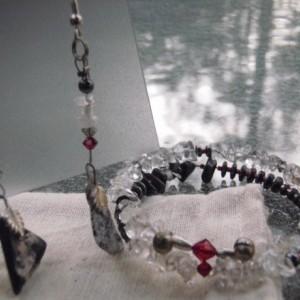 """""""Dark Forest"""" Stone Earrings and Bracelet Set"""