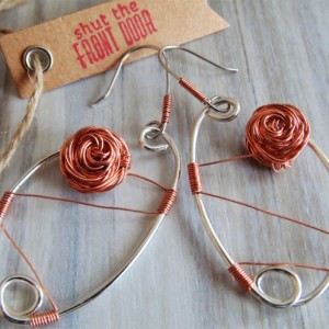 Drop Earrings, Sterling Silver, Natural Copper Roses and Wire Wrap