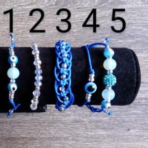 Blue Evil Eye Adjustable Bracelet Set