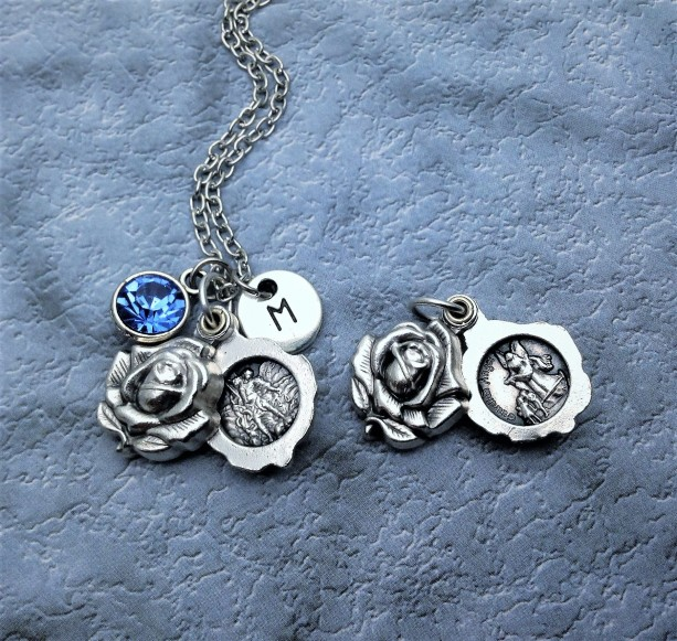 Sliding Rose Locket Style Saint Michael and Guardian Angel Necklace
