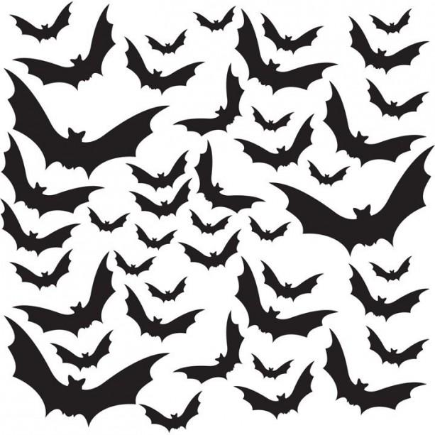 Halloween Themed - 44 Bats Vinyl Decals