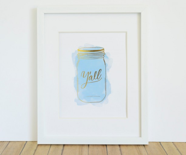 Y'all Ball Jar Watercolor REAL GOLD FOIL Print / Mason Jar Print Gift for Her under 25 Wall Art Decor 8x10 / Kitchen Decor