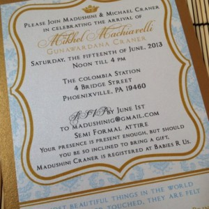 Deposit for Prince/Princess baby shower invitations