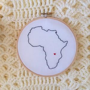 Custom Africa Embroidery Hoop Art Wall Hanging