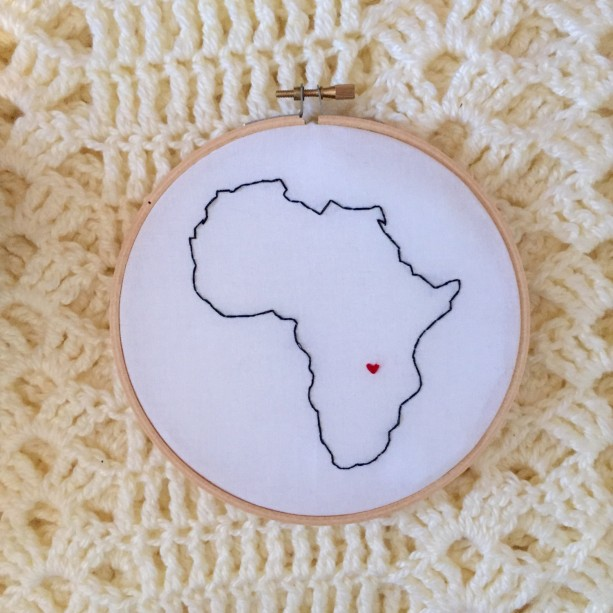 Custom Africa Embroidery Hoop Art Wall Hanging