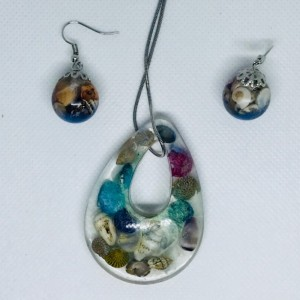 Beach ocean jewelry set, seashell jewery set