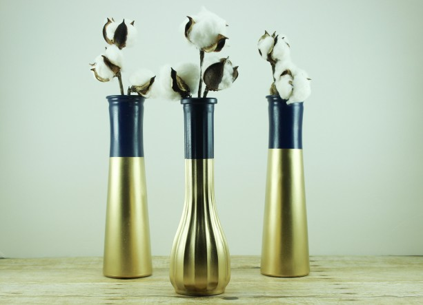 Navy Blue Gold Dipped Vase Collection Set Of 6 Aftcra