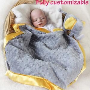Gray Elephant Security Blanket, Lovey Blanket, Satin Baby Blanket, Stuffed Animal, Baby Toy, Jungle animal blanket - Customize Color