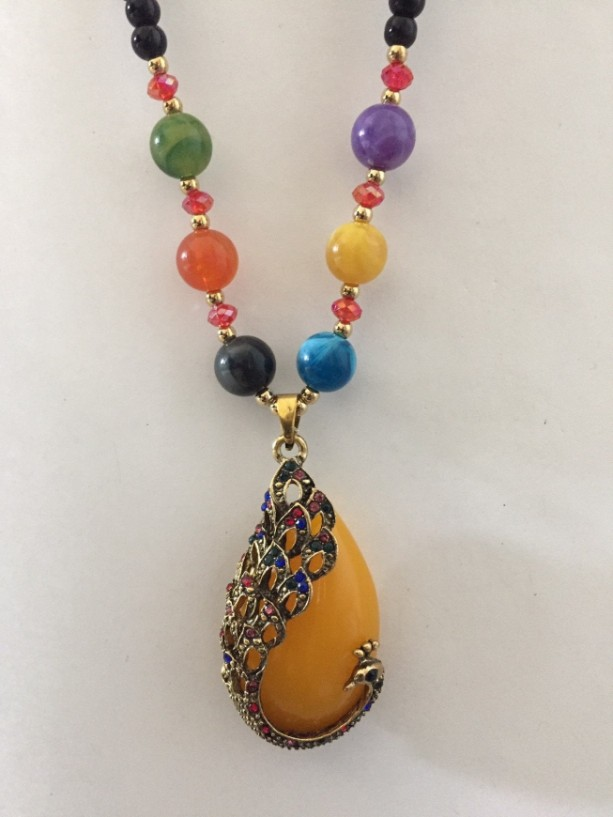 Statement Necklace with Yellow Glass Teardrop Pendant, Colorful Beaded Necklace