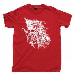 Pirate Captain Men's T Shirt, Jolly Roger Skull & Crossbones Sailor Skeleton Tattoo Ocean Sea Sailing Unisex Cotton Tee Shirt