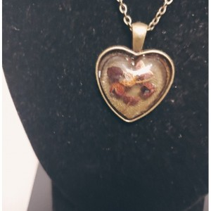 Bronze Heart Shape Resin Necklace