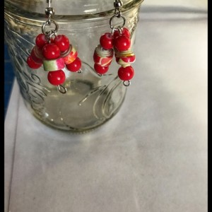 Boho style paperbead earrings