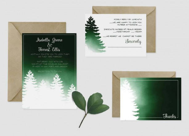 Custom Wedding Invitations - Set of 25 - Forest - Winter - Outdoor - Green and White - Wedding Ensemble