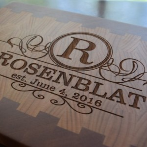 Engraved Butcher Block Cutting Board Cherry Mahogany End grain Wedding Gift   Family Name, Anniversary Gift,  Appreciation Gift