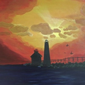 Power of Light-acrylic painting of silhouette lighthouse and on ocean at end of rope bridge under an orange,red,and yellow sunset