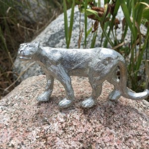 Mountain Lion pewter figurine, puma, cougar, hand cast