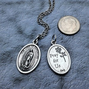Personalized Silver Plated Our Lady of Guadalupe Necklace