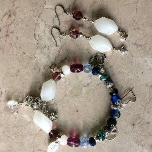 Charms bracelet set made with multicolor glass beads & earrings.