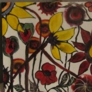 Garden - Floral Encaustic Modern Pop Wax Art Painting - Free Shipping - 12 x 12