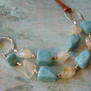 Aquamarine and Citrine Nugget Silver Gold Leather Necklace