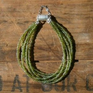 Jade 6 strand bracelet with magnetic clasp