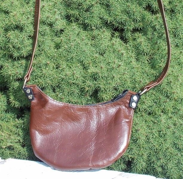 Leather bag or leather purse cross body Disco style