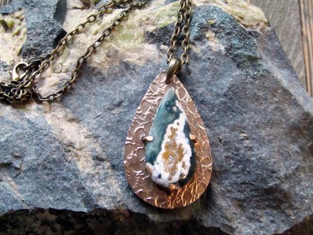 Handcrafted Bronze Metal Clay and Ocean Jasper Pendant