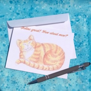 Smiling Orange Cat Greeting Cards-Handmade Notecard-Cat Notecard-Cat Notecards-Cat Card-Cat Cards- orange cat-tabby cat-cat art stationery