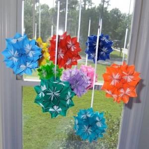 Rainbow Starburst Flower Ball Mobile, Flower Mobile, Ball Mobile, Nursery Mobile, Baby Mobile, Origami Mobile, Decorative Mobile, Kusudama