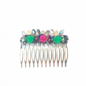 Green & Pink Rose Sparkle Large Hair Comb