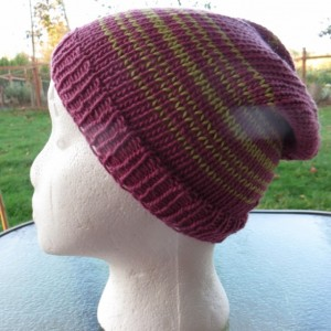 Beanie Hat Hand Knitted, Cotton & Silk Yarn - ALOHA by Anja