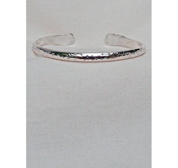 Sterling Silver Bracelet Hand Hammered Pitted Textured Thick Handmade
