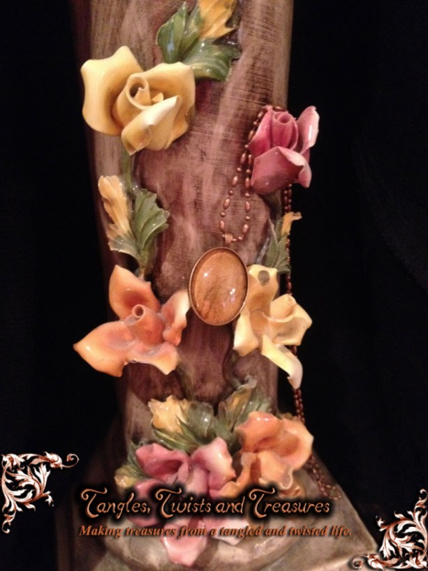 """Petals"" Real Dried Rose Petal Oval Pendant with Swarovski Crystal Option"