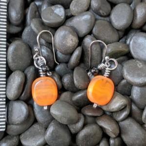 Autumn earrings fall earrings Halloween jewelry fall jewelry orange earrings dangle earrings sterling silver wirework jewelry