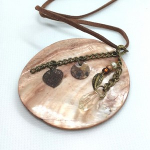 Large Shell Pendant Necklace with Mini Charms on Leather Cord by Cumulus Luci
