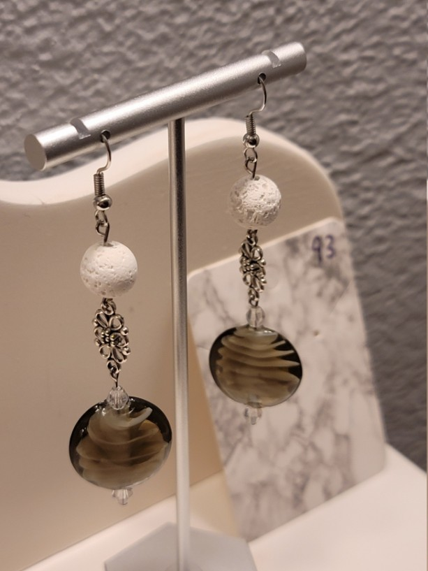 Fossil look bead earrings