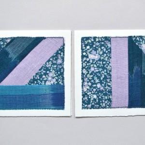 Improvised patchwork greeting cards -- set of 2