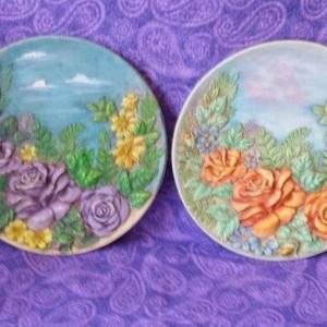 Two Pastel Rose Plaque Plates