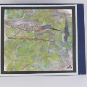 Green Heron Greeting Card, Original Watercolor Painting