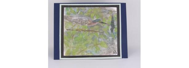 Green Heron Greeting Card, Original Watercolor Painting